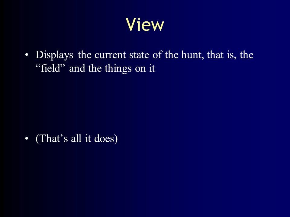 """View Displays the current state of the hunt, that is, the """"field"""" and the things on it (That's all it does)"""