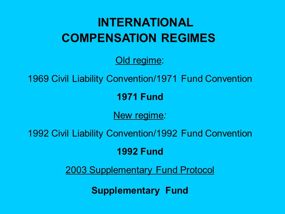1992 CIVIL LIABILITY CONVENTION  116 States Parties 1992 FUND CONVENTION  100 States Parties 2003 PROTOCOL TO 1992 FUND CONVENTION  20 States Parties
