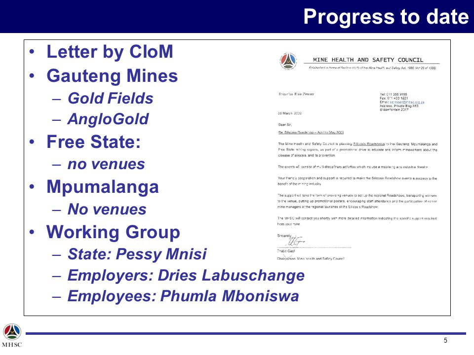 16 Thank you Contact Details info@mhsc.org.za MHSC Disclaimer: All views expressed herein are the views of the author and do not reflect the views of the Mine Health and Safety Council unless specifically stated otherwise.