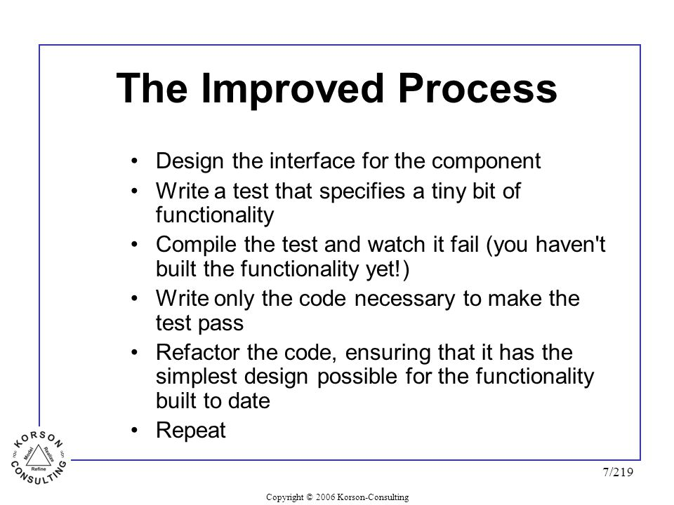 Copyright © 2006 Korson-Consulting 7/219 The Improved Process Design the interface for the component Write a test that specifies a tiny bit of functionality Compile the test and watch it fail (you haven t built the functionality yet!) Write only the code necessary to make the test pass Refactor the code, ensuring that it has the simplest design possible for the functionality built to date Repeat