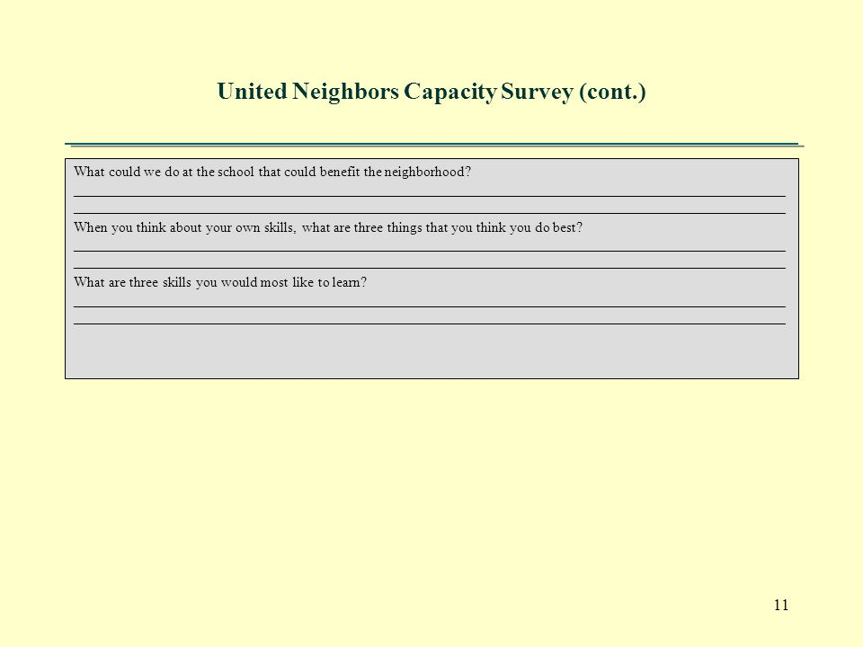 11 United Neighbors Capacity Survey (cont.) What could we do at the school that could benefit the neighborhood.