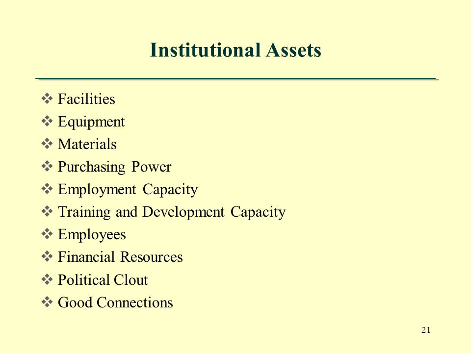 21 Institutional Assets  Facilities  Equipment  Materials  Purchasing Power  Employment Capacity  Training and Development Capacity  Employees  Financial Resources  Political Clout  Good Connections