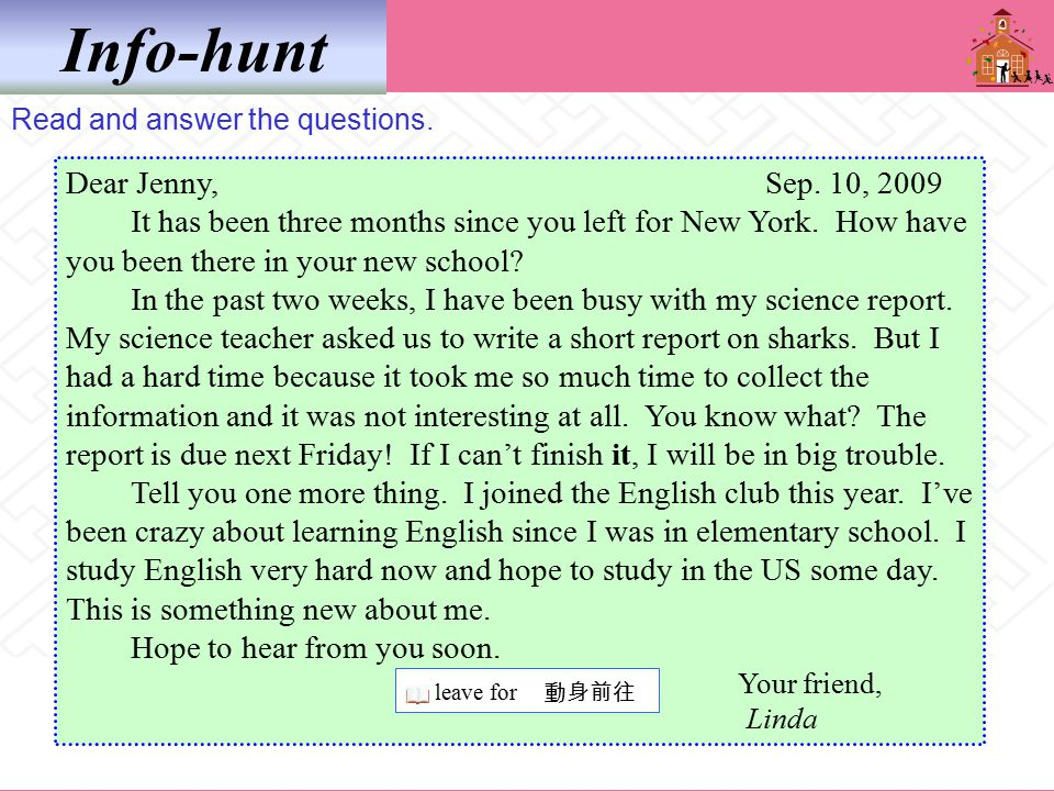 Info-hunt Read and answer the questions. Dear Jenny, Sep.