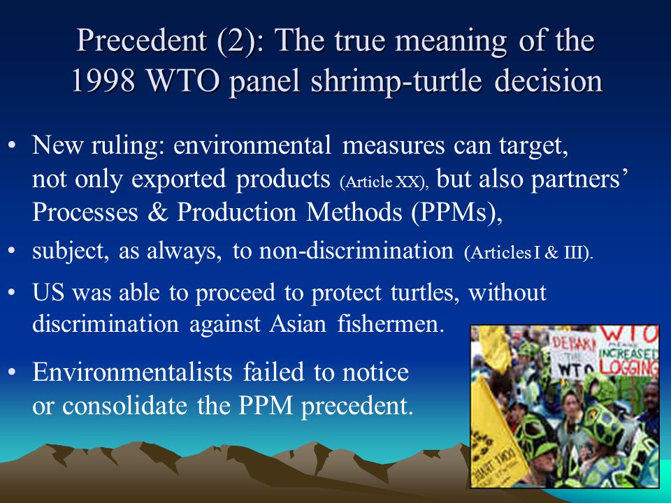 32 Precedent (2): The true meaning of the 1998 WTO panel shrimp-turtle decision New ruling: environmental measures can target, not only exported products (Article XX), but also partners' Processes & Production Methods (PPMs), subject, as always, to non-discrimination (Articles I & III).