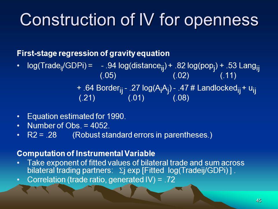 45 Construction of IV for openness First-stage regression of gravity equation log(Trade ij /GDPi) = -.94 log(distance ij ) +.82 log(pop j ) +.53 Lang ij (.05) (.02) (.11) +.64 Border ij -.27 log(A i A j ) -.47 # Landlocked ij + u ij (.21) (.01) (.08) Equation estimated for 1990.