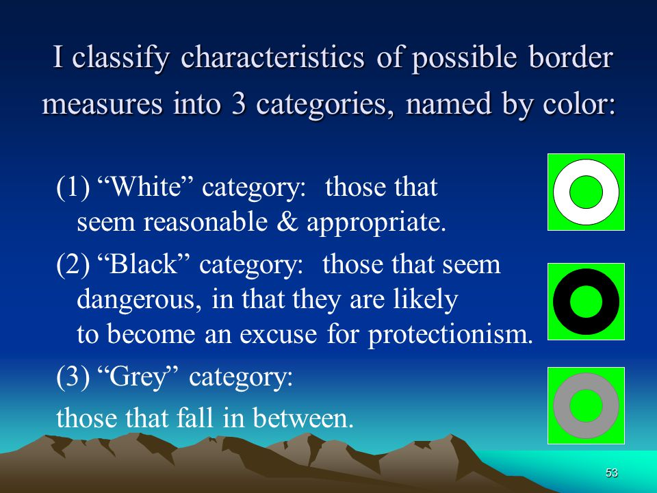 53 I classify characteristics of possible border measures into 3 categories, named by color: I classify characteristics of possible border measures into 3 categories, named by color: (1) White category: those that seem reasonable & appropriate.