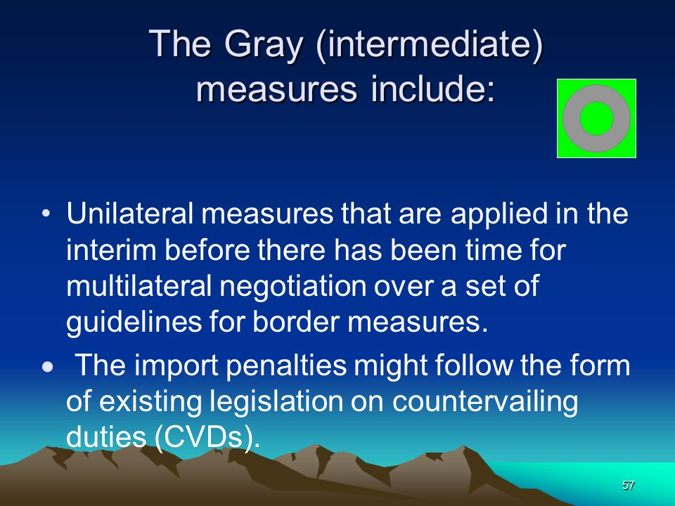 57 The Gray (intermediate) measures include: Unilateral measures that are applied in the interim before there has been time for multilateral negotiati