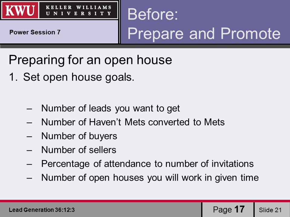 Lead Generation 36:12:3 Slide 21 Before: Prepare and Promote Preparing for an open house 1.Set open house goals.
