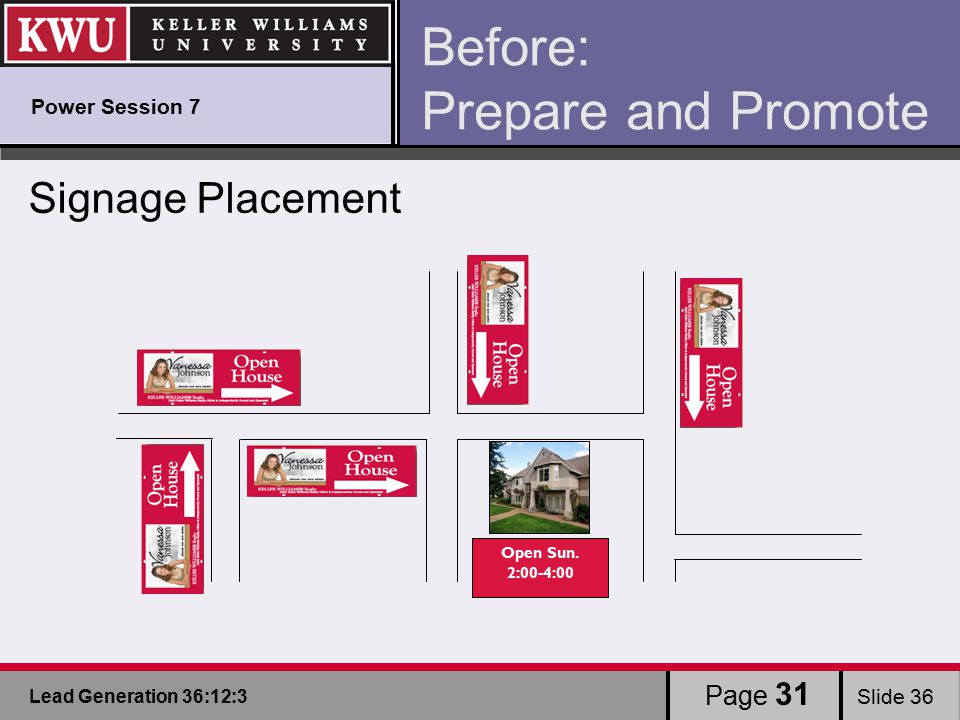 Lead Generation 36:12:3 Slide 36 Before: Prepare and Promote Signage Placement Open Sun.