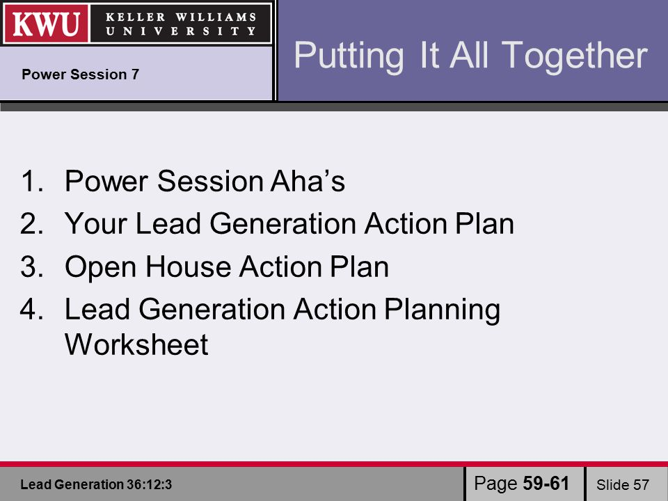 Lead Generation 36:12:3 Slide 57 1.Power Session Aha's 2.Your Lead Generation Action Plan 3.Open House Action Plan 4.Lead Generation Action Planning Worksheet Putting It All Together Page 59-61 Power Session 7