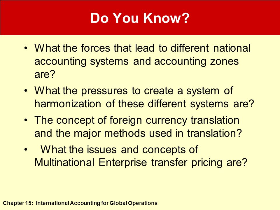 Chapter 15: International Accounting for Global Operations Do You Know.