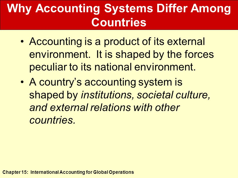Chapter 15: International Accounting for Global Operations Why Accounting Systems Differ Among Countries Accounting is a product of its external environment.