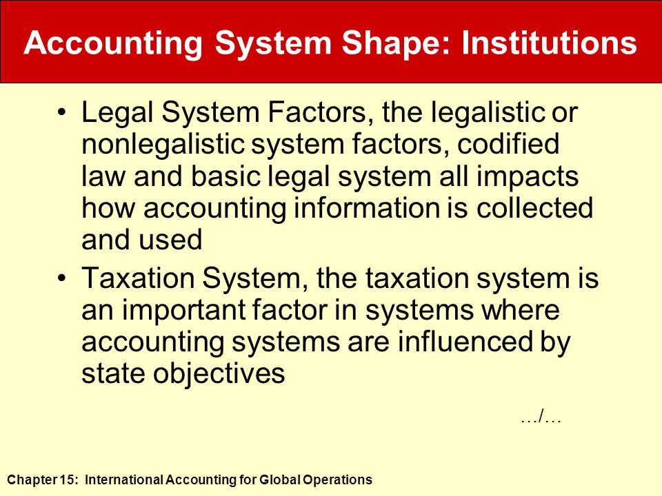 Chapter 15: International Accounting for Global Operations Accounting System Shape: Institutions Legal System Factors, the legalistic or nonlegalistic system factors, codified law and basic legal system all impacts how accounting information is collected and used Taxation System, the taxation system is an important factor in systems where accounting systems are influenced by state objectives …/…
