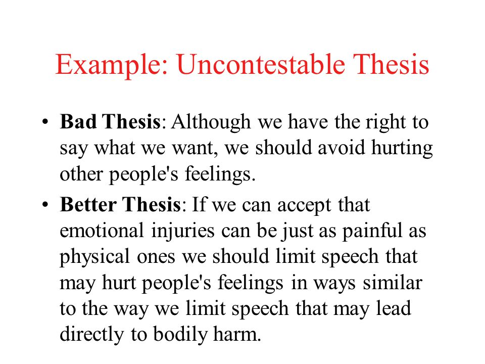 Example: Uncontestable Thesis Bad Thesis: Although we have the right to say what we want, we should avoid hurting other people s feelings.
