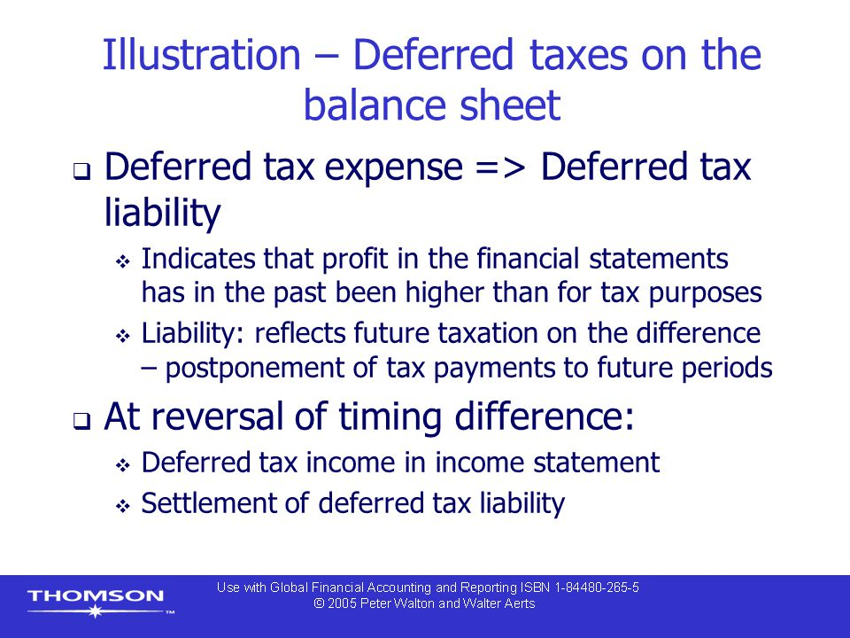 Illustration – Deferred taxes on the balance sheet  Deferred tax expense => Deferred tax liability  Indicates that profit in the financial statements has in the past been higher than for tax purposes  Liability: reflects future taxation on the difference – postponement of tax payments to future periods  At reversal of timing difference:  Deferred tax income in income statement  Settlement of deferred tax liability