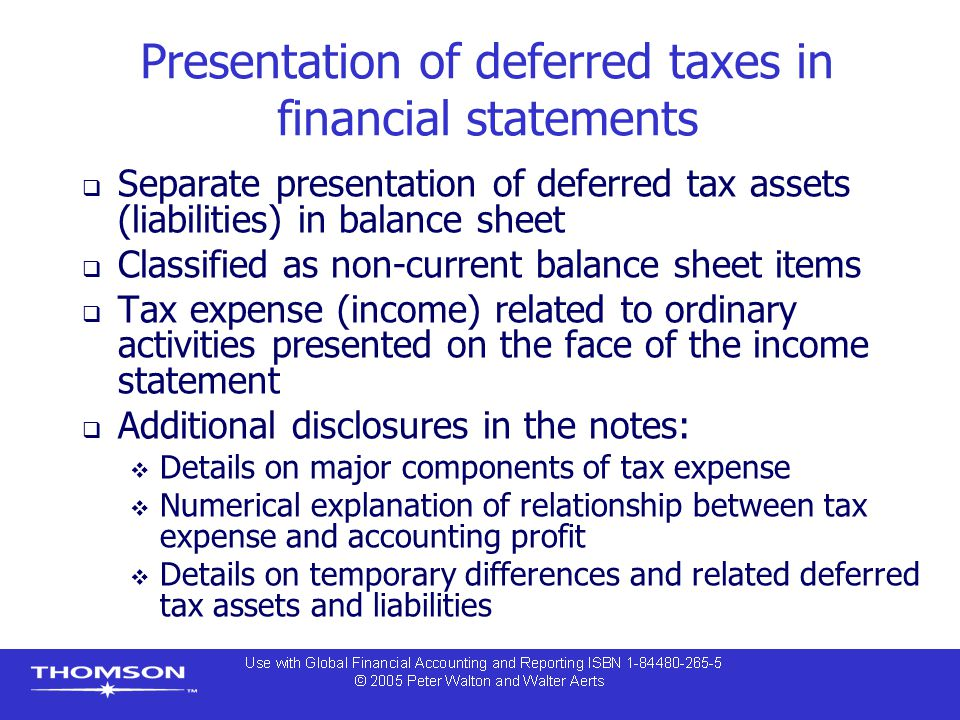 Presentation of deferred taxes in financial statements  Separate presentation of deferred tax assets (liabilities) in balance sheet  Classified as n