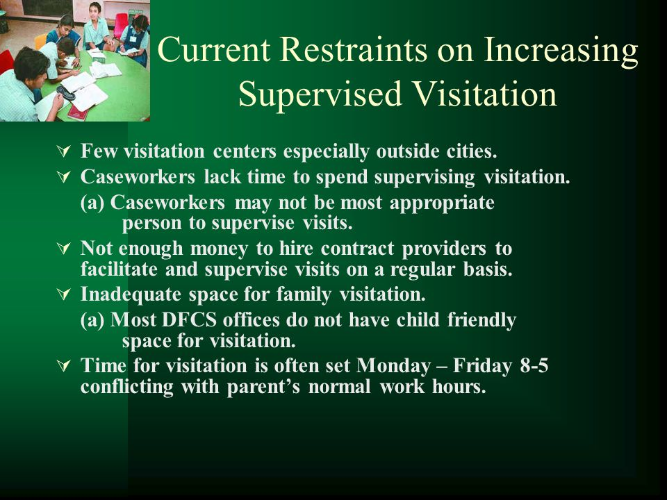 What Role Does DFCS Play. Agrees to use Safe Havens Program for visitation.