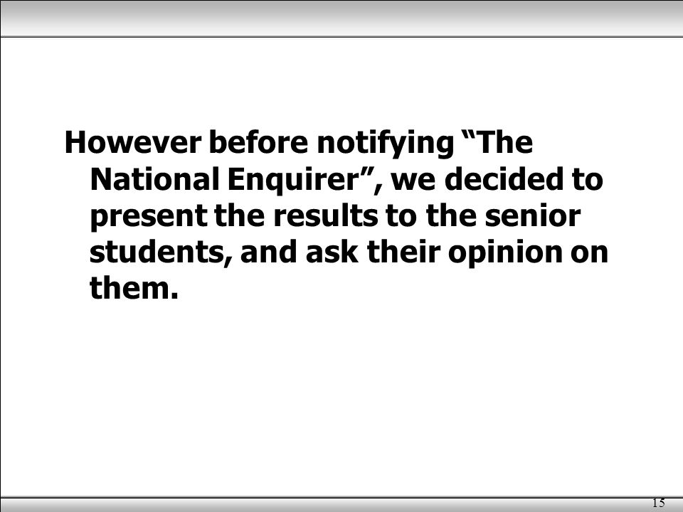 15 However before notifying The National Enquirer , we decided to present the results to the senior students, and ask their opinion on them.