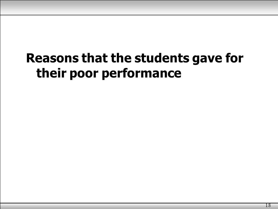 18 Reasons that the students gave for their poor performance