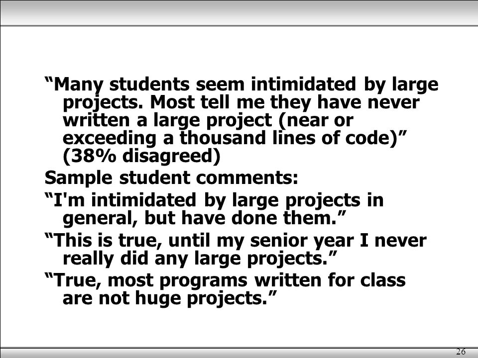 26 Many students seem intimidated by large projects.