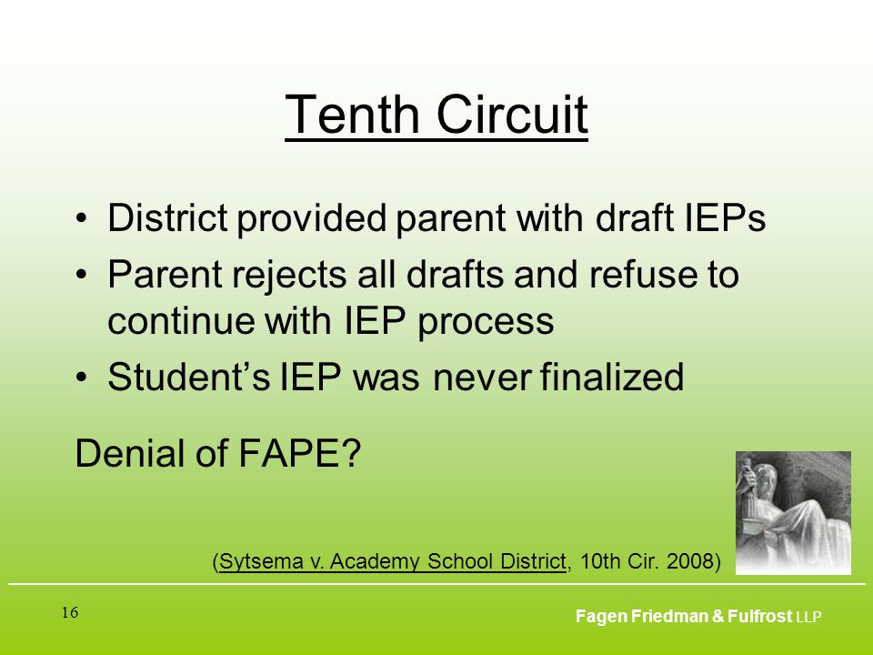 ___________________________________________________________________________________________ Fagen Friedman & Fulfrost LLP 16 Tenth Circuit District provided parent with draft IEPs Parent rejects all drafts and refuse to continue with IEP process Student's IEP was never finalized Denial of FAPE.