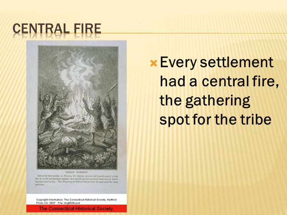  Every settlement had a central fire, the gathering spot for the tribe