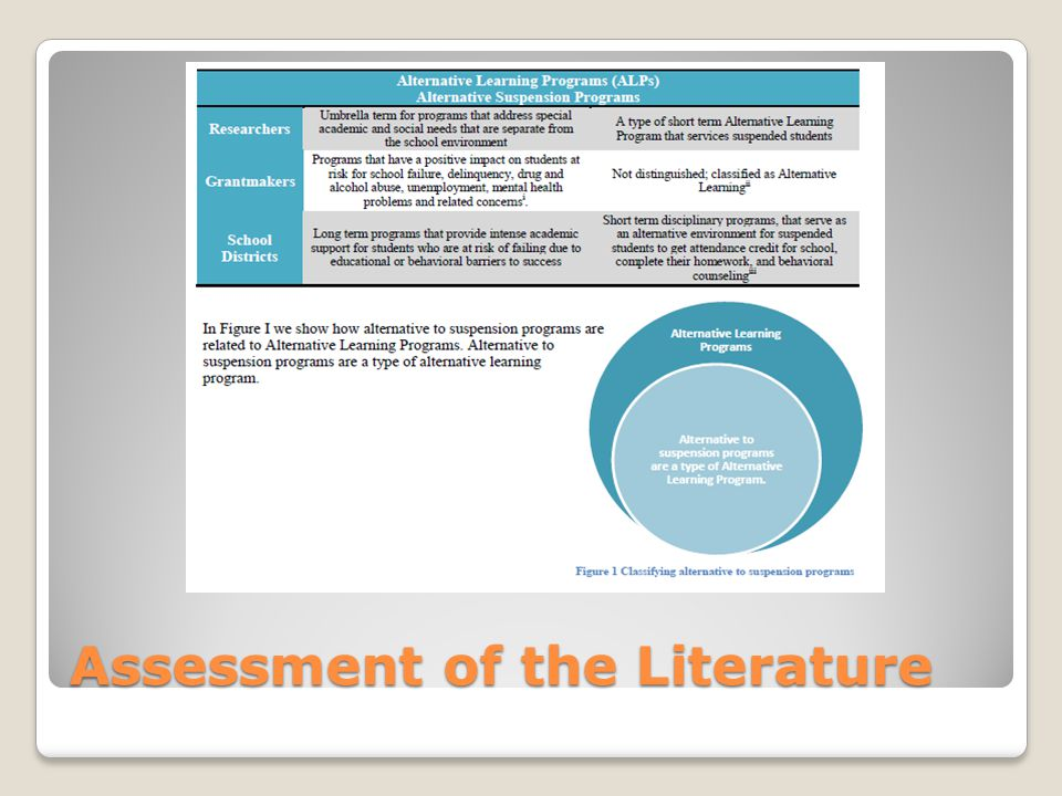 Assessment of the Literature