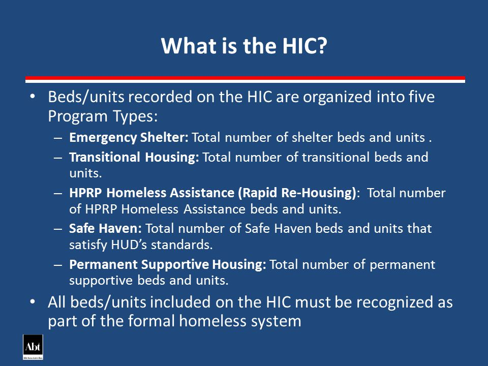 Supportive Services for Veterans Families (SSVF) and the HIC 16 SSVF Homeless Assistance – Total number of SSVF homeless assistance beds and units designed to serve people who are homeless – Count the number of actual beds and units occupied on the night the annual inventory was done.