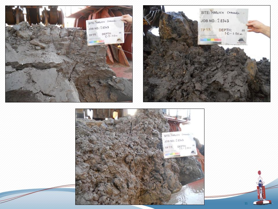 An initial (and approximate) assessment of the materials above the dredge level has been made, dividing the soils into 'hard clays', 'soft clays' and 'sand / gravel' mixtures… 12 Dredge depth Hard clays Soft clays Sand and gravel Total dredge volume 15.5m CD 11.7 M m 3 0.8 M m 3 2.9 M m 3 15.4 M m 3 16.0m CD 17.7 M m 3 1.7 M m 3 4.8 M m 3 24.2 M m 3