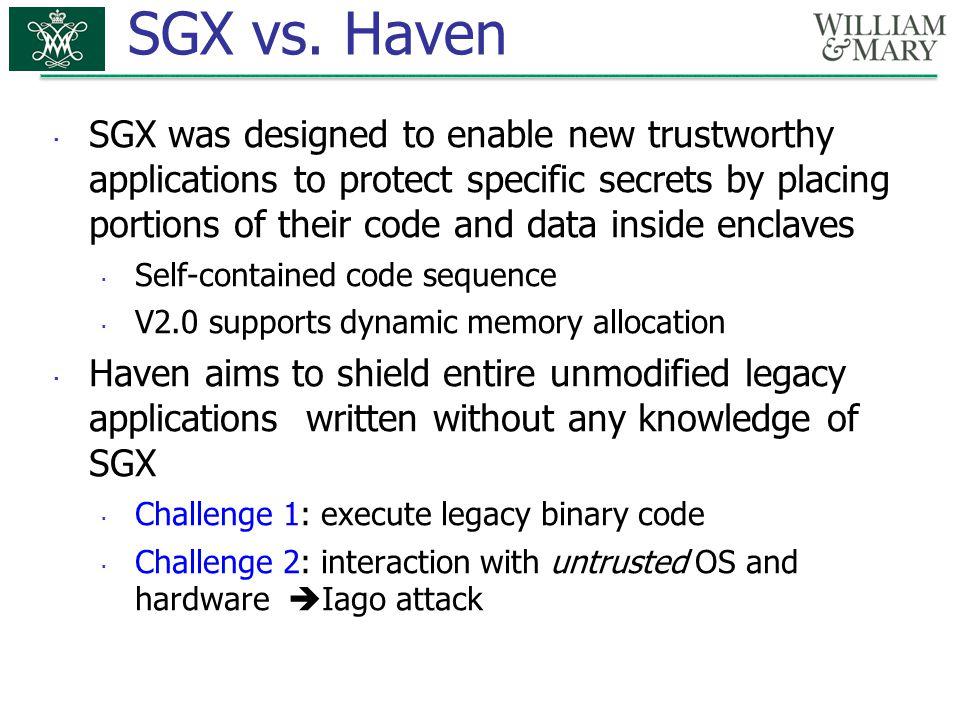 SGX vs.