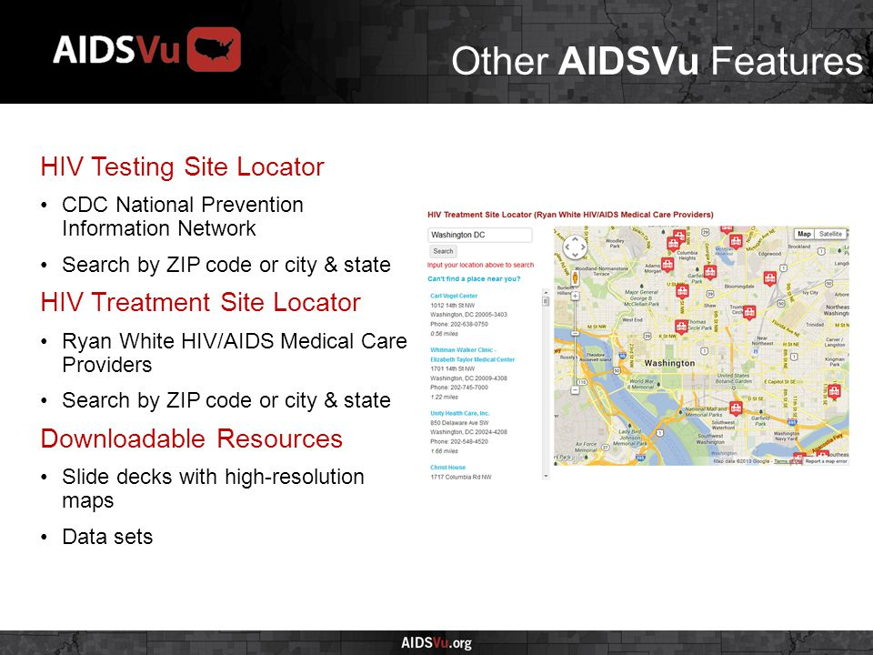 Other AIDSVu Features HIV Testing Site Locator CDC National Prevention Information Network Search by ZIP code or city & state HIV Treatment Site Locator Ryan White HIV/AIDS Medical Care Providers Search by ZIP code or city & state Downloadable Resources Slide decks with high-resolution maps Data sets