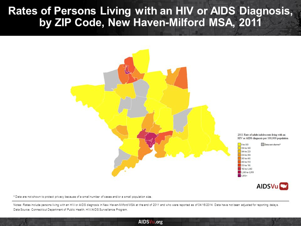 Rates of Persons Living with an HIV or AIDS Diagnosis, by ZIP Code, New Haven-Milford MSA, 2011 Notes: Rates include persons living with an HIV or AIDS diagnosis in New Haven-Milford MSA at the end of 2011 and who were reported as of 04/16/2014.