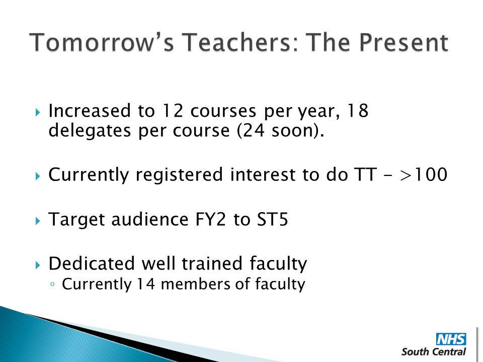  Increased to 12 courses per year, 18 delegates per course (24 soon).  Currently registered interest to do TT - >100  Target audience FY2 to ST5 
