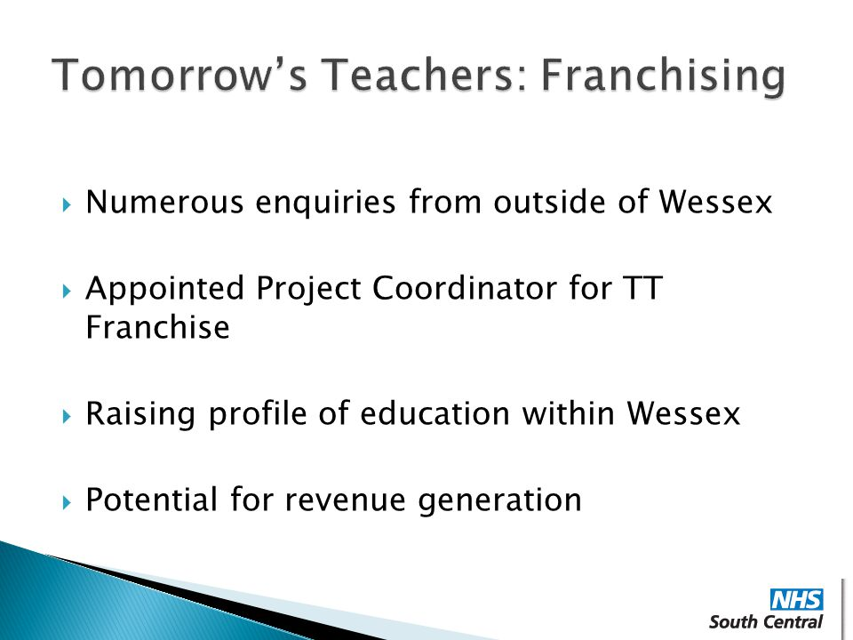  Numerous enquiries from outside of Wessex  Appointed Project Coordinator for TT Franchise  Raising profile of education within Wessex  Potential