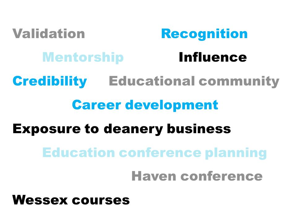 Validation Recognition Mentorship Influence Credibility Educational community Career development Exposure to deanery business Education conference pla