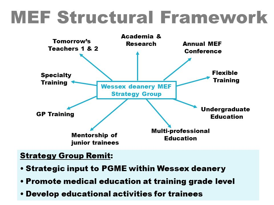GP Training Multi-professional Education Flexible Training Tomorrow's Teachers 1 & 2 Specialty Training Undergraduate Education Academia & Research Annual MEF Conference Wessex deanery MEF Strategy Group Strategy Group Remit: Strategic input to PGME within Wessex deanery Promote medical education at training grade level Develop educational activities for trainees MEF Structural Framework Mentorship of junior trainees
