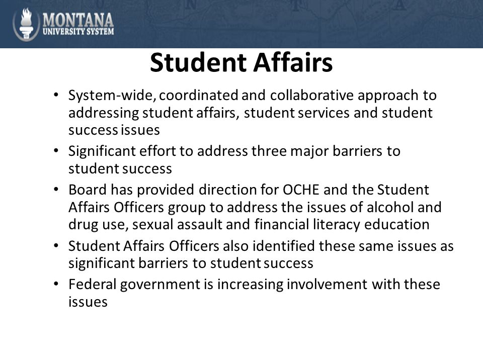 Student Affairs System-wide, coordinated and collaborative approach to addressing student affairs, student services and student success issues Significant effort to address three major barriers to student success Board has provided direction for OCHE and the Student Affairs Officers group to address the issues of alcohol and drug use, sexual assault and financial literacy education Student Affairs Officers also identified these same issues as significant barriers to student success Federal government is increasing involvement with these issues