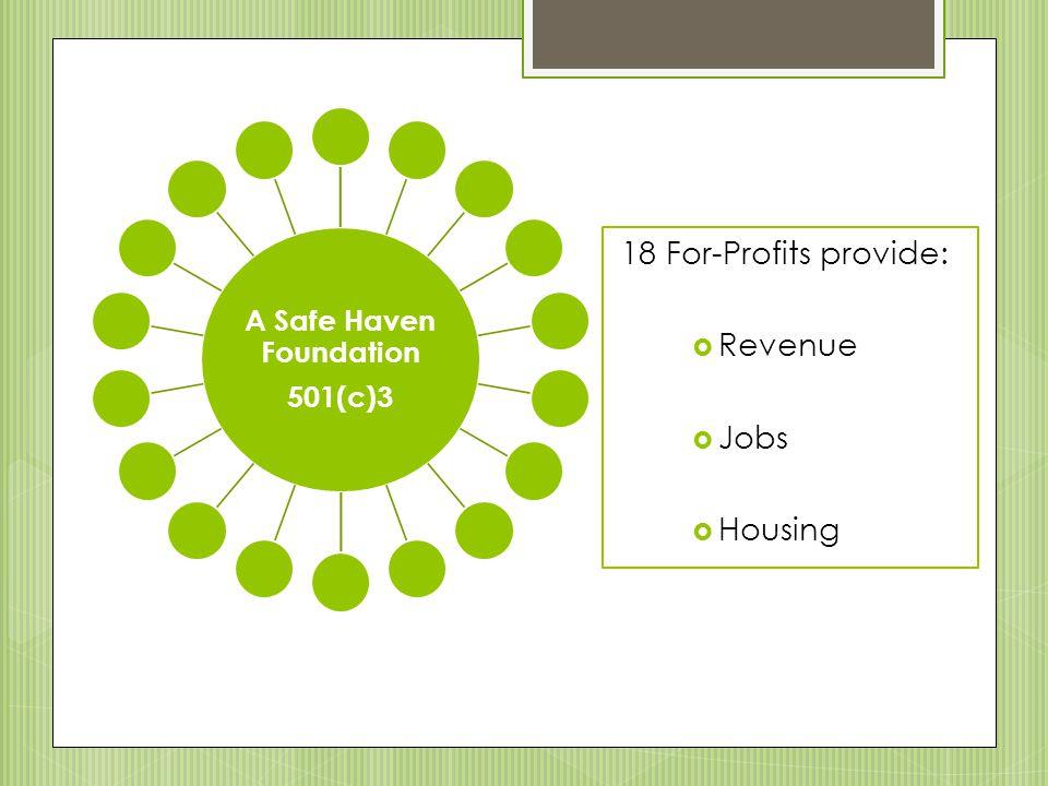 18 For-Profits provide:  Revenue  Jobs  Housing A Safe Haven Foundation 501(c)3