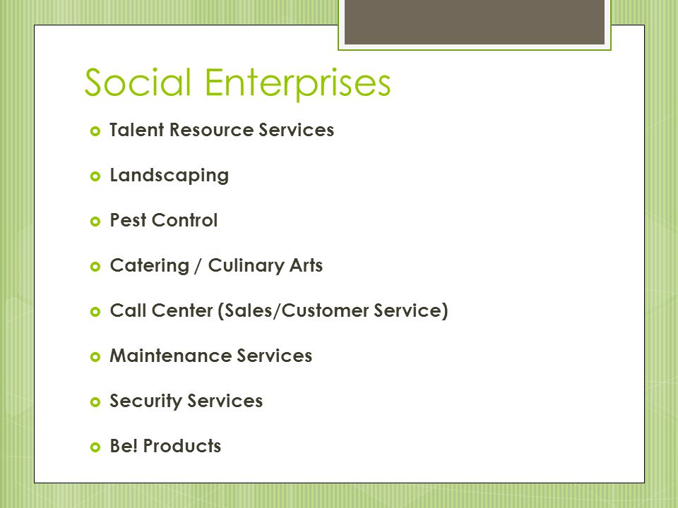Social Enterprises  Talent Resource Services  Landscaping  Pest Control  Catering / Culinary Arts  Call Center (Sales/Customer Service)  Maintenance Services  Security Services  Be.