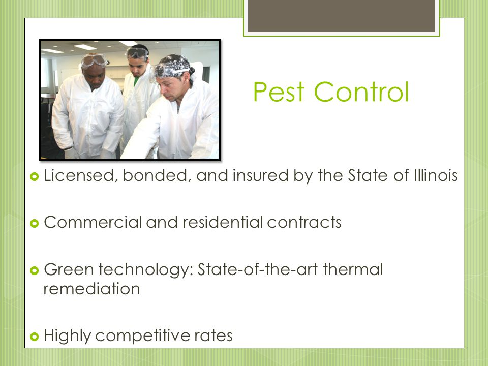 Pest Control  Licensed, bonded, and insured by the State of Illinois  Commercial and residential contracts  Green technology: State-of-the-art thermal remediation  Highly competitive rates