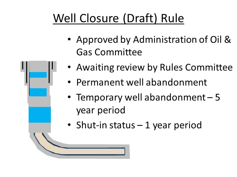 Well Closure (Draft) Rule Approved by Administration of Oil & Gas Committee Awaiting review by Rules Committee Permanent well abandonment Temporary well abandonment – 5 year period Shut-in status – 1 year period.