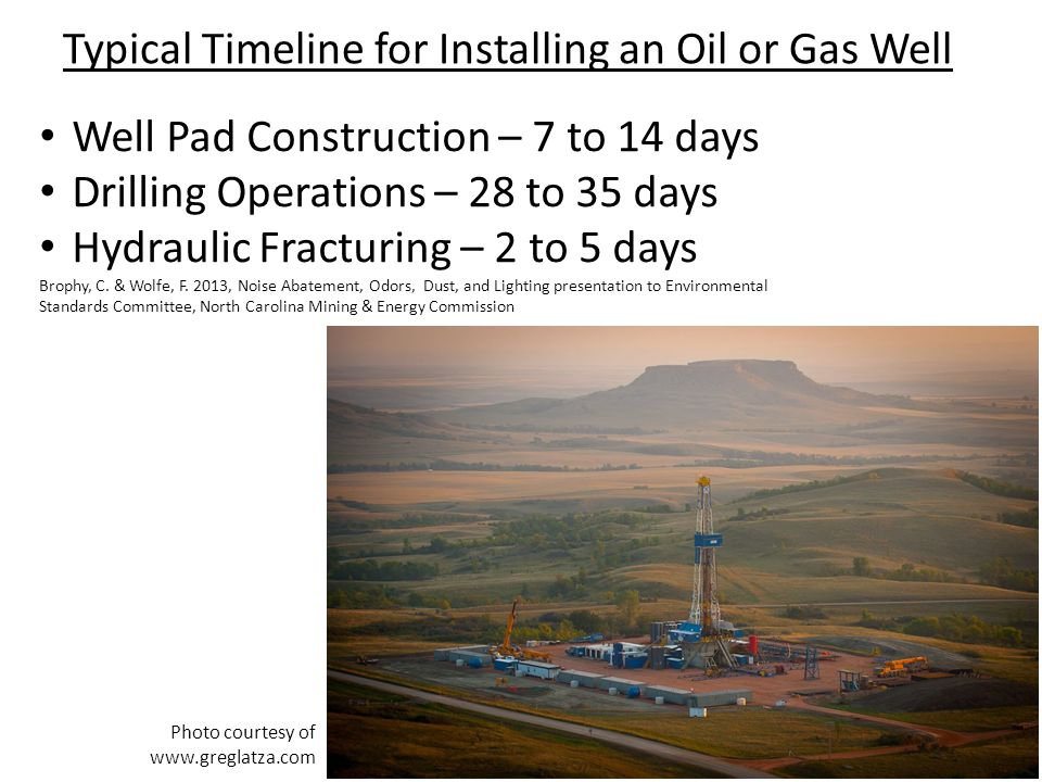 Typical Timeline for Installing an Oil or Gas Well Well Pad Construction – 7 to 14 days Drilling Operations – 28 to 35 days Hydraulic Fracturing – 2 to 5 days Brophy, C.