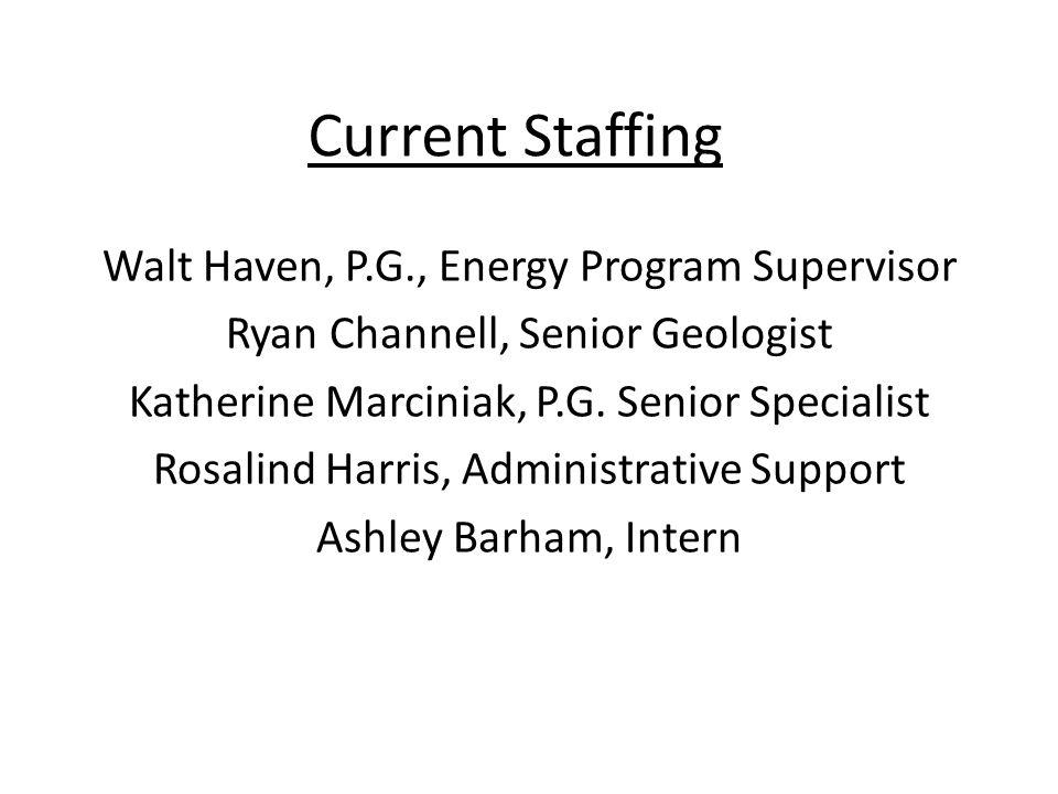 Current Staffing Walt Haven, P.G., Energy Program Supervisor Ryan Channell, Senior Geologist Katherine Marciniak, P.G.