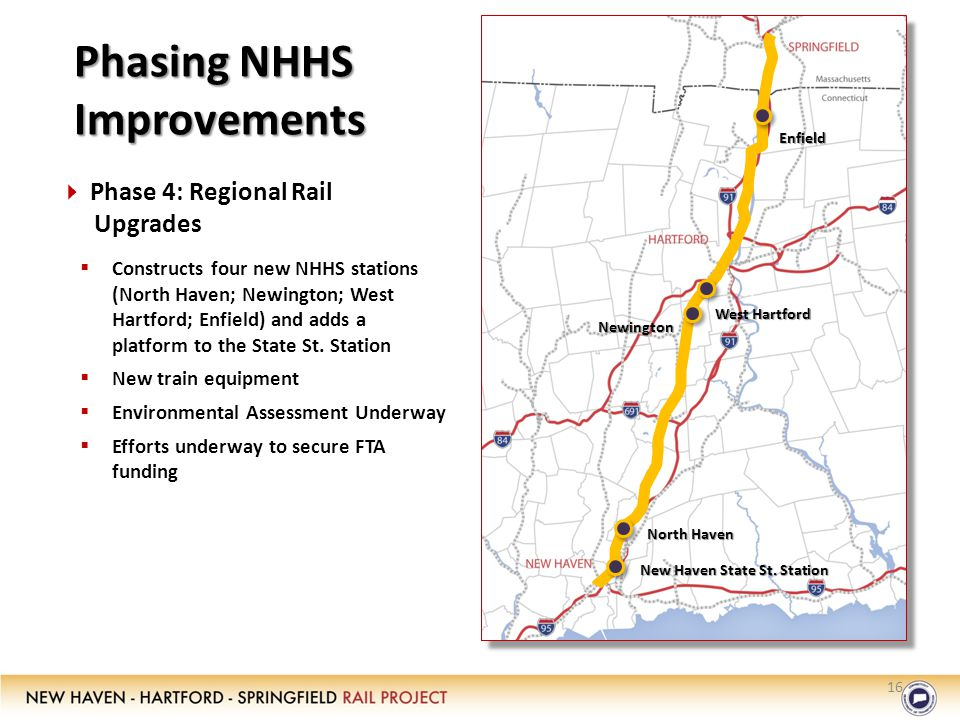 16 Phasing NHHS Improvements Enfield Newington North Haven West Hartford  Phase 4: Regional Rail Upgrades  Constructs four new NHHS stations (North Haven; Newington; West Hartford; Enfield) and adds a platform to the State St.