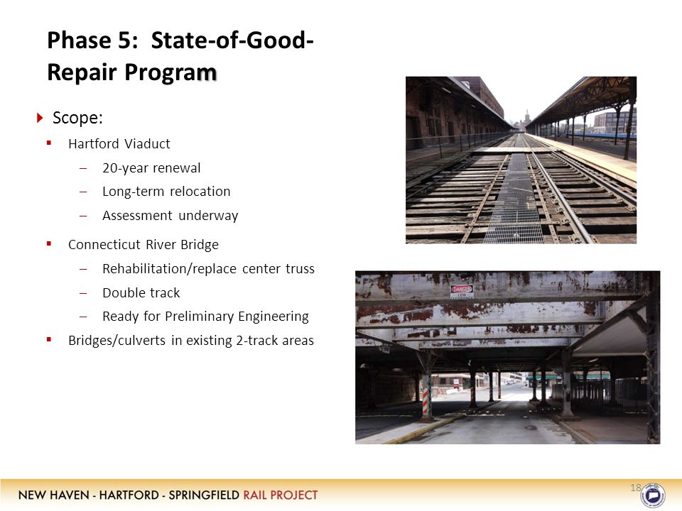 18 m Phase 5: State-of-Good- Repair Program 18  Scope:  Hartford Viaduct –20-year renewal –Long-term relocation –Assessment underway  Connecticut River Bridge –Rehabilitation/replace center truss –Double track –Ready for Preliminary Engineering  Bridges/culverts in existing 2-track areas