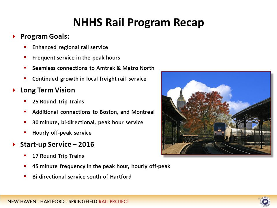 NHHS Rail Program Recap   Program Goals:   Enhanced regional rail service   Frequent service in the peak hours   Seamless connections to Amtrak & Metro North   Continued growth in local freight rail service   Long Term Vision   25 Round Trip Trains   Additional connections to Boston, and Montreal   30 minute, bi-directional, peak hour service   Hourly off-peak service   Start-up Service – 2016   17 Round Trip Trains   45 minute frequency in the peak hour, hourly off-peak   Bi-directional service south of Hartford 6