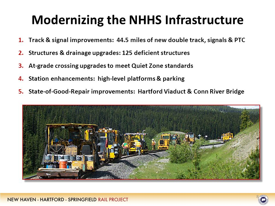 Modernizing the NHHS Infrastructure 1.Track & signal improvements: 44.5 miles of new double track, signals & PTC 2.Structures & drainage upgrades: 125 deficient structures 3.At-grade crossing upgrades to meet Quiet Zone standards 4.Station enhancements: high-level platforms & parking 5.State-of-Good-Repair improvements: Hartford Viaduct & Conn River Bridge 8
