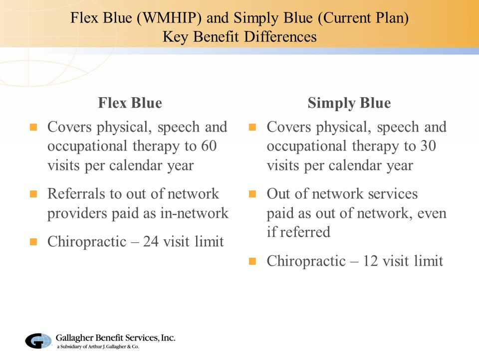 Flex Blue (WMHIP) and Simply Blue (Current Plan) Key Benefit Differences Flex Blue Covers physical, speech and occupational therapy to 60 visits per calendar year Referrals to out of network providers paid as in-network Chiropractic – 24 visit limit Simply Blue Covers physical, speech and occupational therapy to 30 visits per calendar year Out of network services paid as out of network, even if referred Chiropractic – 12 visit limit