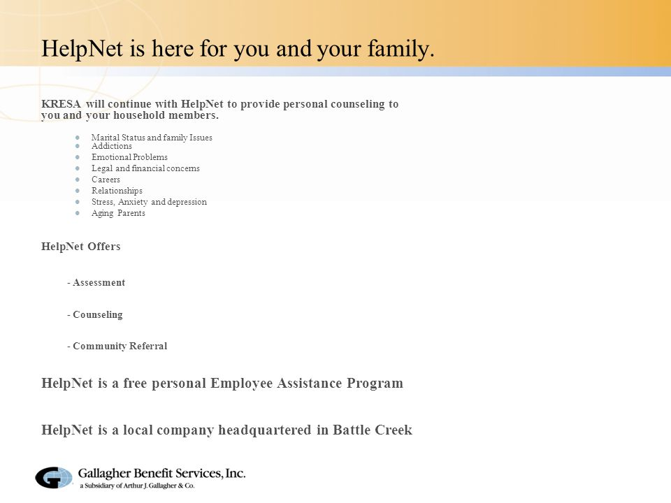 HelpNet is here for you and your family.