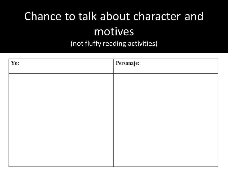 Chance to talk about character and motives (not fluffy reading activities)